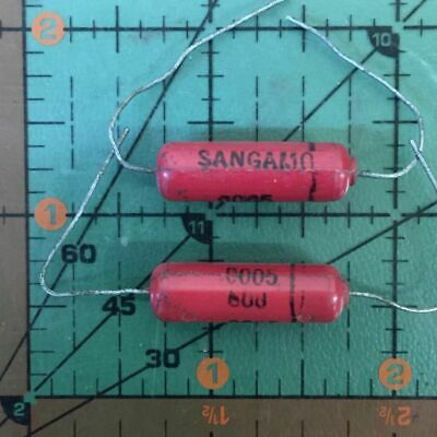 Sangamo Axial Molded Capacitor 500pf 600v Red .0005uf 0.0005uf Audio Vintage