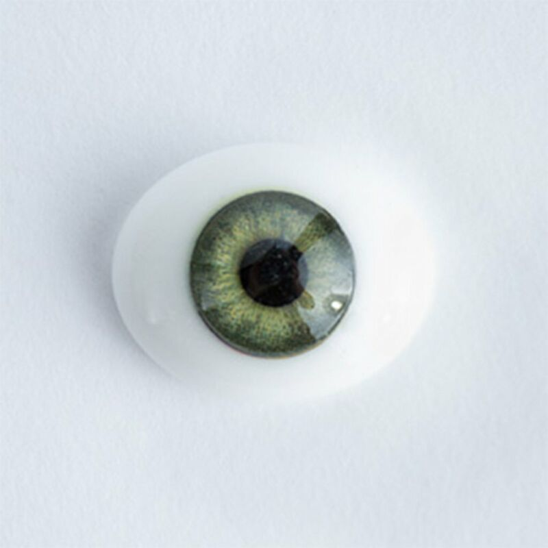 10mm Green - Oval Glass Eyes - 1 Pair - #1198