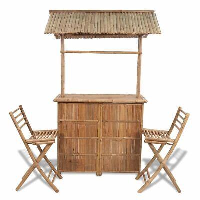 Garden Furniture - vidaXL Outdoor Bar Counter Set 3 Pieces Bamboo Garden Patio Furniture Stool