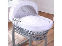 Clair de lune dimple white and grey moses basket and deluxe grey stand