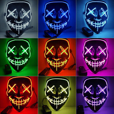 Halloween Purge Movie Flash LED Wire Scary Mask Party Festival Costume Luminous (Halloween Scary Costumes)