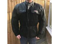 Leather motorcycle jacket with armour padding