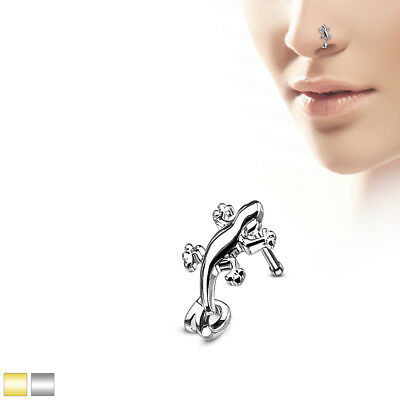Gold/Steel Gecko Nose Crawlers 316L Surgical Steel Nose Bone Stud Rings 20G 1/4