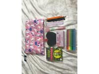 Unicorn bag with pens and accessories