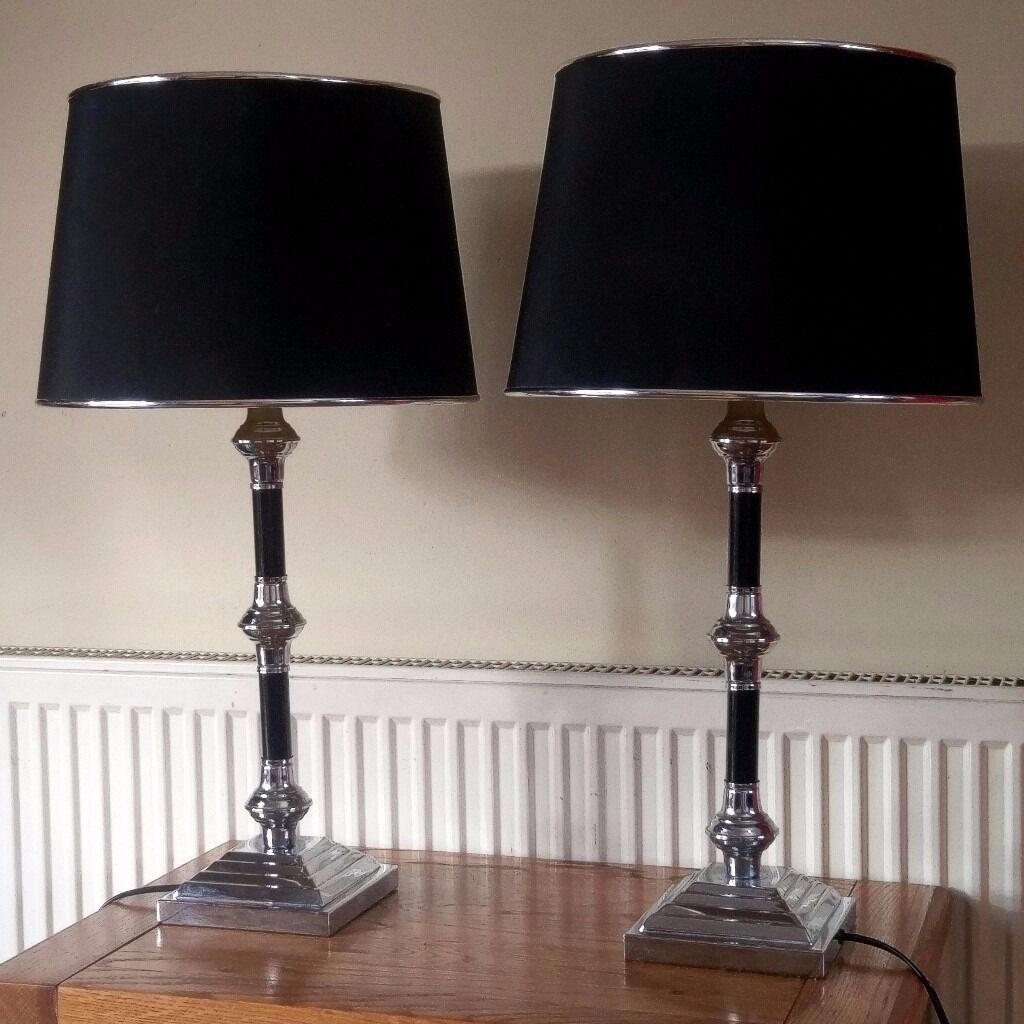 Pair Of Stylish Tall Black Chrome Silver Table Lamps 67cm
