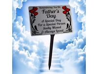 Fathers Day Memorial Plaque with Stake