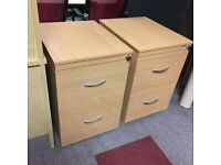 Beech 2 Drawer Wooden Filing Cabinet - Free Local Delivery