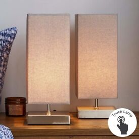 Stunning Dimmable Touch Table Lamps (GREY) x2