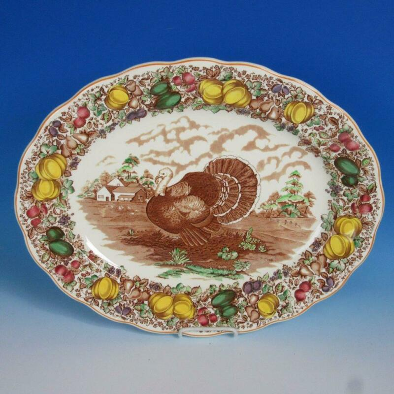 """Barker Bros China - Colorful Thanksgiving Turkey Platter - 20"""" by 16"""""""