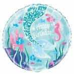 Zeemeermin Helium Ballon Happy Birthday 43cm leeg