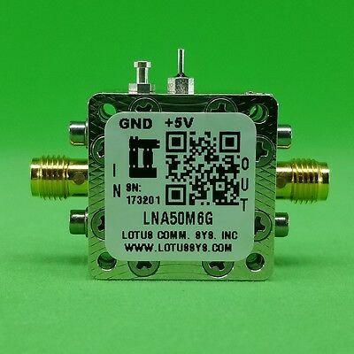 Broadband Low Noise Amplifier 0.65db Nf 50m 6ghz 16.5db Gain 22dbm P1db Sma