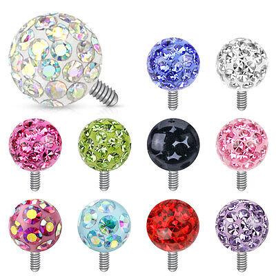 - Clear Epoxy Ferido Gem Ball Dermal Anchor Screw Top Studs Rings PIERCING Jewelry