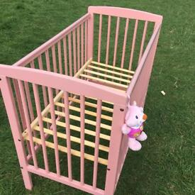 Pink cot good condition