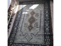 Handmade 120cm x 180cm grey, navy & brown rug