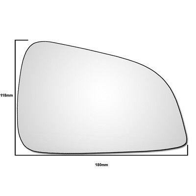Right Hand Driver Side Vauxhall Astra H 2009 2011 Convex Wing Door Mirror Glass
