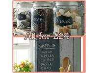 Slate kitchen set. 3 Glass Jars & Slate chalkboard