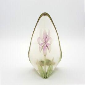 Scandinavian Art Glass Flower Floral Sculpture by Mats Jonasson 13cm Sweden