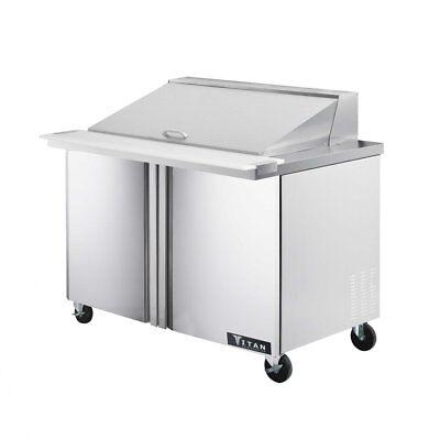 Titan Timu48-18 Mega Top Sandwich Prep Tables 2 Door 18 Pans 48 Inch
