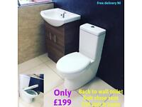 Back to wall toilet with 550 vanity unit and basin deal (2 colour options)