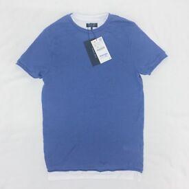 BRAND NEW WITH TAGS - ZARA MAN Layered Mesh Waffle Knit S T-Shirt Jumper Mens Mock Small Light Blue