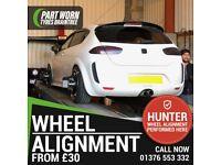 Hunter 4 Wheel Alignment, Tracking, Camber, Balancing, BMW Runflat Tyres, Bridgestone 16, 17, 18,19