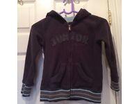 Very good condition: dark grey boys' zip up fleece hooded jacket age 5 years