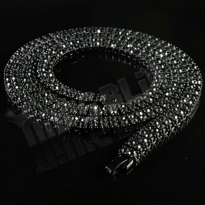 Jet Black Onyx 2 Row Flooded Out Iced Lab Diamond Chain Hip Hop Tennis Necklace Onyx Jewelry Necklace