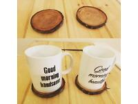 Real wood mug coasters.