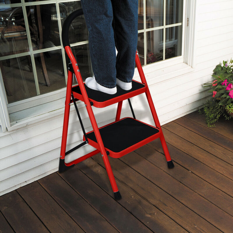 2 Step Ladder Folding Step Stool Steel Ladder With Handle An