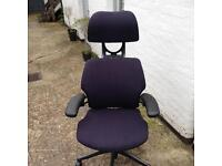 Refurbished humanscale freedom chairs in black fabric