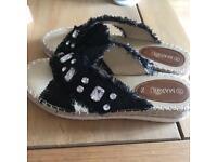 Denim wedge sandals size 6