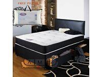 Brand New 5FT King Size Divan Bed Black Base with 13inch Pocket Sprung Memory Foam Kingsize Mattress