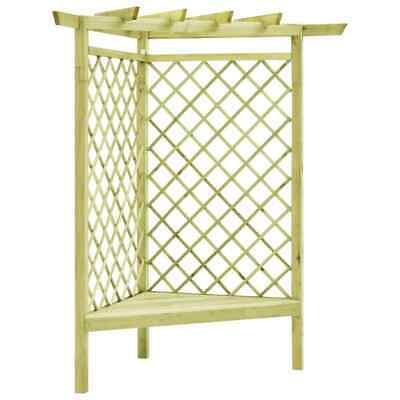 vidaXL Corner Pergola with Seat Impregnated Pinewood Garden Patio Trellis