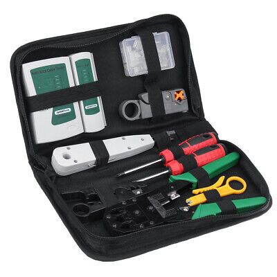 Network Tool Ethernet Lan Kit Rj451112 Cat6 Cable Tester Crimper Tool Set