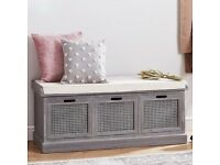 Vintage French style Grey Storage Bench NEW