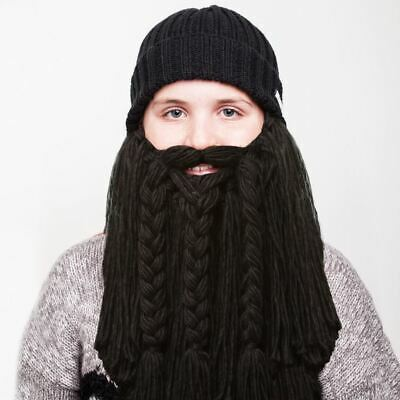 Viking Beard Costume (Beardo - Viking Style - Long Black Beard Kids Hat Beanie Face Warmer)