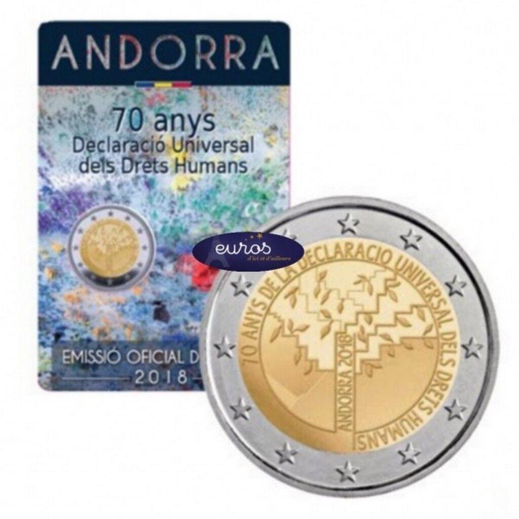 2 euros commémorative andorre 2018 - déclaration des droits de l'homme - blister