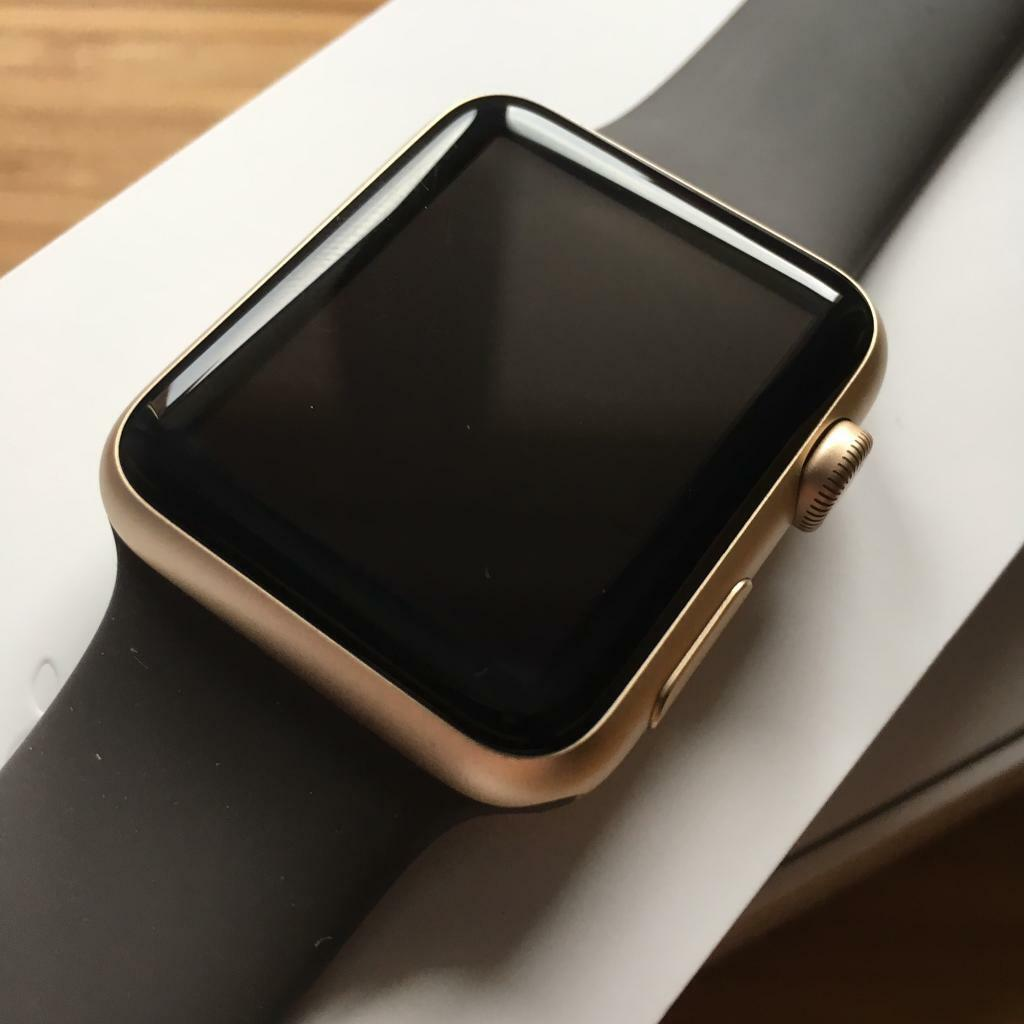 Apple Watch 42mm Series 1 Gold Aluminium Case With Cocoa Sport Band Smart