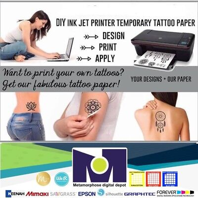 "DIY INKJET Printable Temporary Tattoo Paper 5 Sh 8.5""x11"" Pack, Long Lasting Temporary Tattoo Pack"