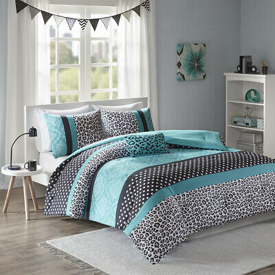 FUN COOL CHIC AQUA TEAL BLUE CHEETAH POLKA DOT SOFT GIRLS TEEN COMFORTER SET  ()