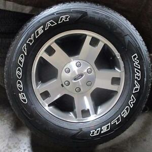 "18"" FORD FACTORY ALLOY RIMS / WHEELS WITH GOODYEAR WRANGLER FORTITUDE 275/65R18 TIRES 80% TREAD"