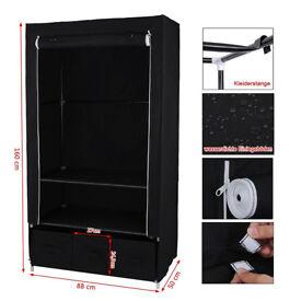 Canvas Single Wardrobe 160 x 88 x 50 cm Clothes Storage Cupboard Shelves Black