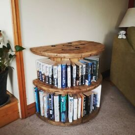 WonkyDonk upcycled cable reel bookcase