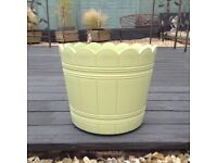 REDUCED PRICE GOOD SIZED YELLOW/GREEN BARREL PLANTER