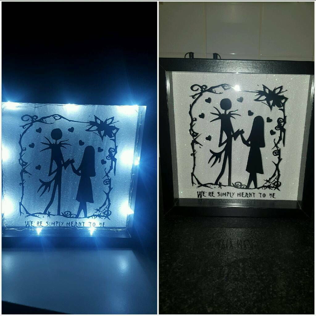 Light Up Box Frame Nightmare Before Christmas Jack And Sally In