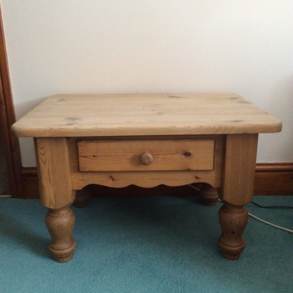 Small Solid Waxed Country Pine Coffee Table Side With Draw Great Preloved Piece 07486933766