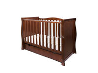 Sleigh Mini Cotbed in Walnut Colour 3 in 1 Cot/Junior Bed/Sofa Bed in box with mattress