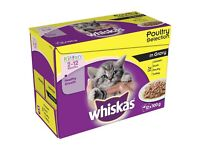 Whiskas Kitten Food Poultry Selection in Gravy Pouches 48 pk. For kittens 2-12 mths