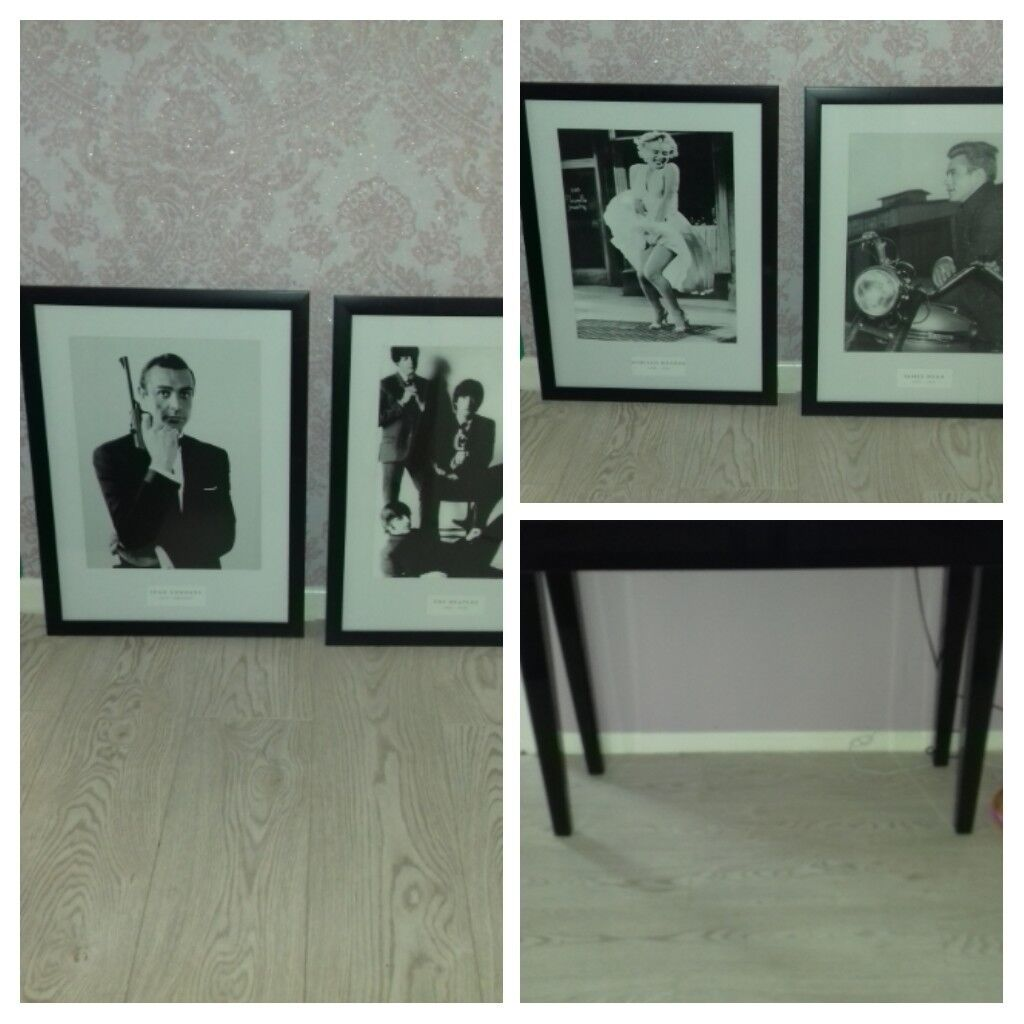 4x pictures in good condition and bkack high gloss console table