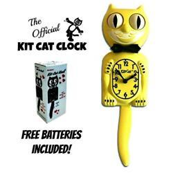 MAJESTIC YELLOW KIT CAT CLOCK 15.5 Free Battery MADE IN THE USA Kit-Cat Klock